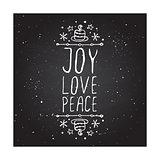Joy love peace - typographic element