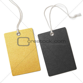 Gold and black cloth price tags set isolated