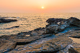 rocks and the sea. beautiful landscape at sunset