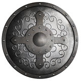 metal round shield with cross isolated