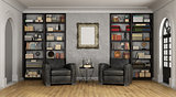 Luxury living room with large bookcase and armchairs