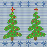 Knitting seamless pattern with Christmas tree