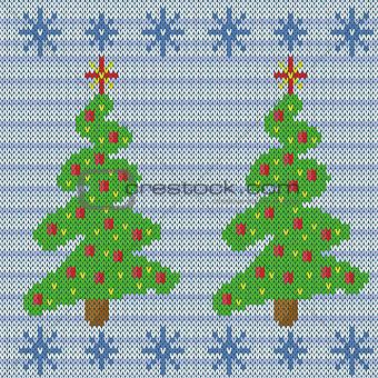 Knitting seamless pattern with Christmas tree