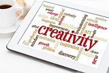 creativity word cloud on tablet