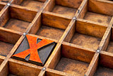 letterpress wood type  letter X