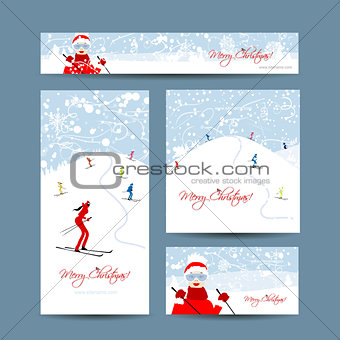 Business cards design. People skiing, winter mountain landscape