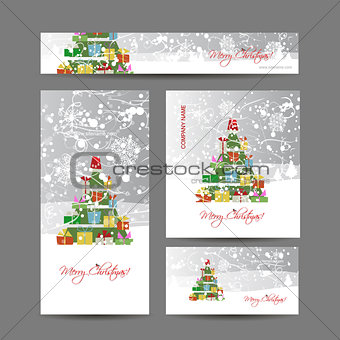 Cards with christmas tree for your design