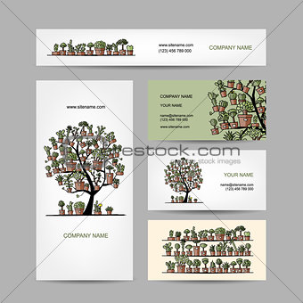 Business cards design with cactus tree