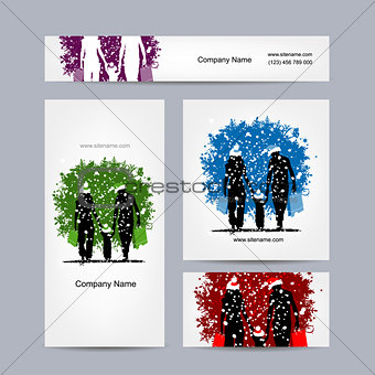 Business cards design. Christmas family