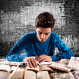 Boy focused while studying