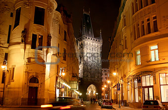 Powder tower in Prague in the evening
