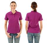 Happy woman with blank purple polo shirt