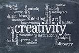 creativity word cloud on blackboard