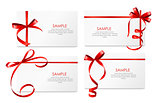 Gift Card with Red Ribbon and Bow Set. Vector illustration