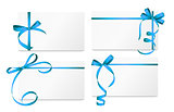Gift Card with Blue Ribbon and Bow Set. Vector illustration