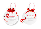 Sale Labels Set with Red Bow and Ribbon . Vector Illustration