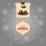 Christmas tags and pudding background
