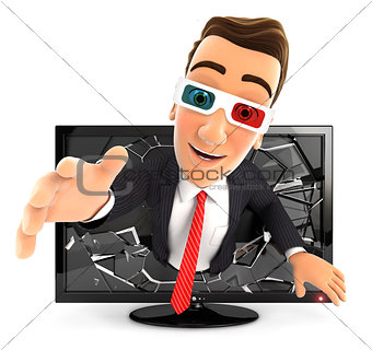 3d businessman coming out of 3d television