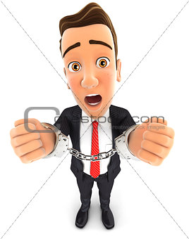3d businessman handcuffed