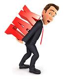 3d businessman heavy tax
