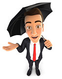 3d businessman with an umbrella