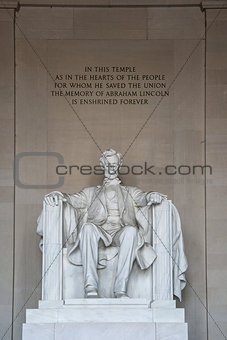 Abraham Lincoln Statue detail at Lincoln Memorial - Washington DC, USA