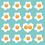 Fried eggs set background
