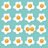 Fried eggs set background