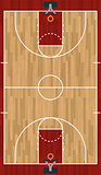 Realistic Vertical Basketball Court Illustration