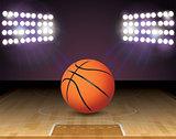 Basketball Court Ball Lights and Hoop Illustration