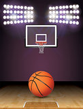 Basketball Court and Lights Ball and Hoop Illustration