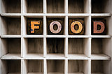 Food Concept Wooden Letterpress Type in Draw