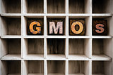 GMOs Concept Wooden Letterpress Type in Draw