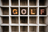 Golf Concept Wooden Letterpress Type in Draw