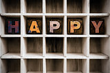 Happy Concept Wooden Letterpress Type in Draw