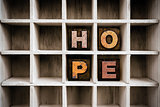 Hope Concept Wooden Letterpress Type in Draw