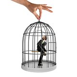 Caged  businessman