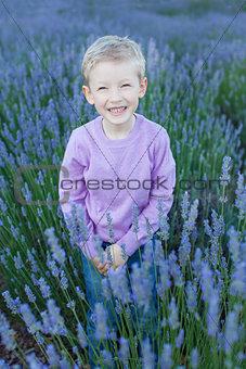boy at lavender field
