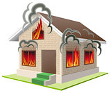 Stone house burns. Property insurance against fire. Home insurance