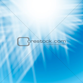 Abstract white background with blue centered rays