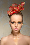 close-up of girl with xmas make-up