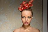 woman with creative xmas make-up
