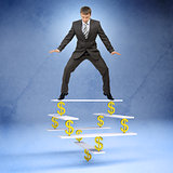 Businessman standing on balance with dollar sign