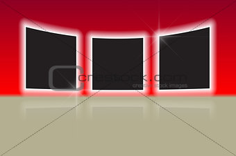 Three glowing photo frames with reflections