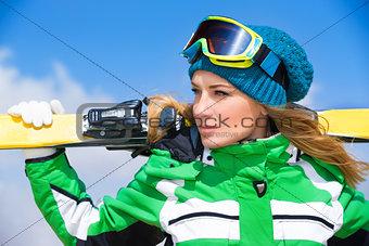 Skier woman portrait