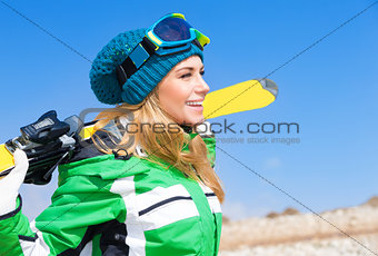 Beautiful skier woman