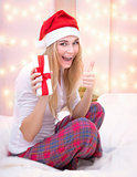 Santa girl with gift box