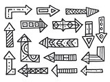 Hand drawn arrows set isolated on white background.
