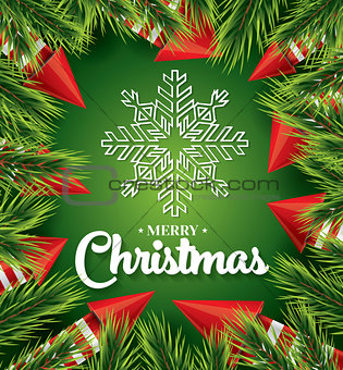 Christmas card with white snowflake on green background
