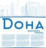 Outline Doha skyline with blue skyscrapers.